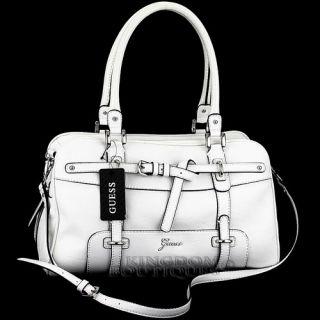 Free SH New Guess Handbag Ladies Avera Satchel Box Bag White Logo