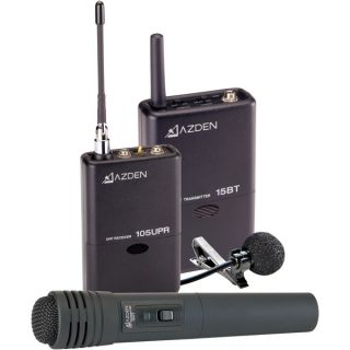 Azden 105ULH Wireless UHF Lavaliere and Hand Held Microphone System