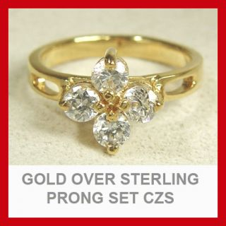New Real 18K Gold on Solid 925 Sterling Silver Clear CZ Ring Free