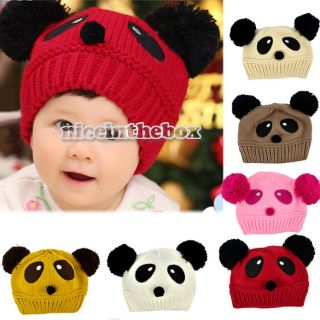 New Cute Baby Kids Girls Boys Stretchy Warm Winter Panda Cap Hat