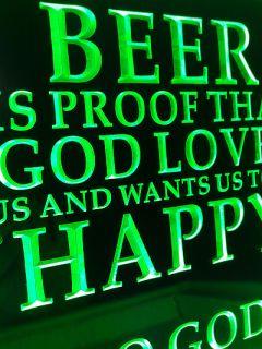 SB249 Beer God Loves Ver Bar Drink Happy Hour Display Neon Light Sign