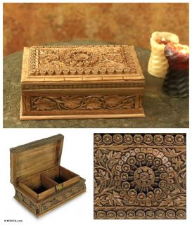 Mandala Forest Indian Hand Carved Walnut Jewelry Box Exquisite Art New