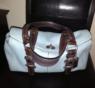 Baby Blue Chocolate 100 Leather Genuine Coach Hand Bag