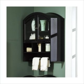 Southern Enterprises Arch Top Wall Black Bathroom Cabinet