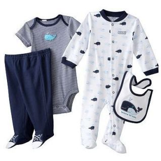 Carters Baby Boy Clothes 4 Piece Set Outfit Navy Blue Whale 3 6 9