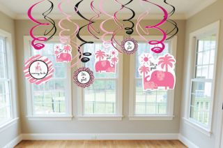 SWEET SAFARI GIRL Pink SWIRL DECORATIONS ~ BABY SHOWER Party Supplies