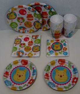 Winnie The Pooh Baby Shower Set 16 Dinner Dessert Plates Lunch Bev