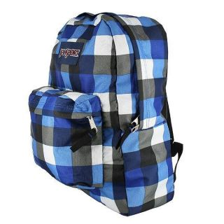 Jansport Superbreak Backpack Blue Black Plaid New Color