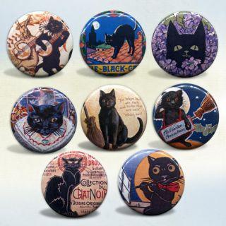Vintage Art & Advertisements badges Set of 8 buttons pinback badges