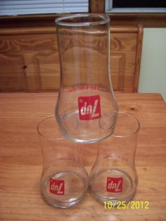 VINTAGE SEVEN UP 7 UP THE UNCOLA DRINKING BEVERAGE BARWARE GLASS