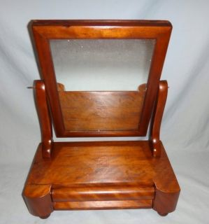 Antique Mahogany Tabletop Shaving Mirror with Drawer