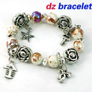 White Stretch Round Beads Flower Shape Dangle Bangle Bracelet