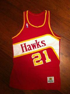 Atlanta Hawks Jersey Sand Knit NBA Dominique Wilkins Mens Small