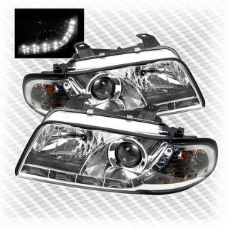1996 1999 Audi A4 S4 DRL R8 LED Projector Headlights Head Lights Pair