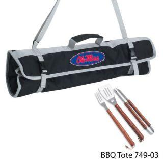NCAA 3 PC BBQ Grill Tools w Tote College Team Logo M P
