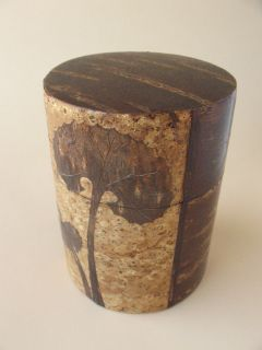 Tea Caddy canister TEA vintage metal tea jar Cherry Bark wood skin