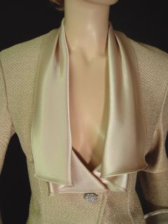 1990 St John Pique Knit Skirt Suit Sz 2 Liquid Satin Draped Collar