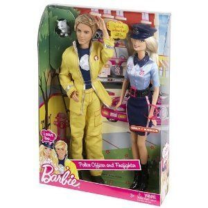 Barbie and Ken I Can Be Police Officer Firefighter Doll Fireman