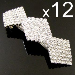Wholesale 12 Clear Rhinestone Hair Barrette Clip Bridal