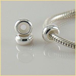 Sterling Silver European Bracelet Bead Charm One Plain Stopper