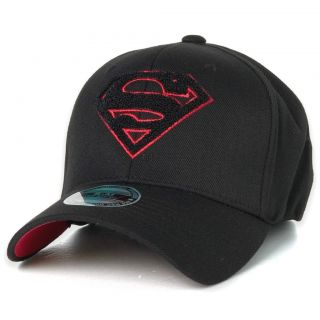 Superman Woolly Logo Baseball Cap Flexfit Spandex Hat Black Red Border
