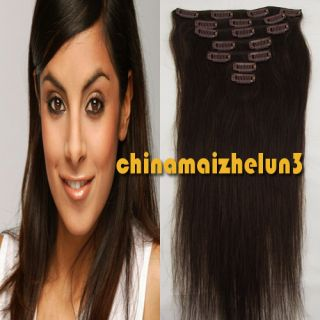 New Clip in Remy Human Hair Extensions Real Hair 7pcs 15 70g Dark