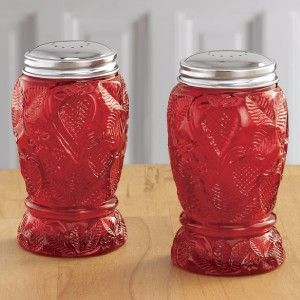 REPLICA RUBY RED GLASS STRAWBERRY DESIGN SALT AND PEPPER SHAKERS NEW
