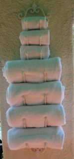 Bath Towel Rack Bar Wrought Iron French Twist Wall Mount Indoor