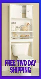White Spacesaver Cabinet Bathroom Bath Room Toilet Storage Drop Door