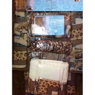 Rug Set Leopard Bath Rugs Fabric Shower Curtain Matching 3 Towels
