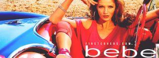 bebe❤ Sexy Off Shoulder Cut Heather Gray Rhinestone Logo Bling