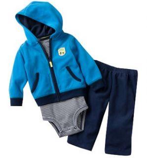 Carters Baby Boy 3 Piece Fleece Cardigan Set Warm Clothes 12 18 24
