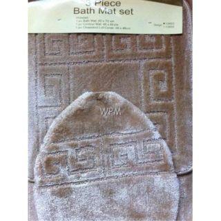 Piece Bathroom Rug Set Beige Bath Rugs Anti Slip Mat