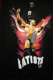 WWE Batista The Animal Wrestling Black Adult XXL 2XL T shirt NEW W