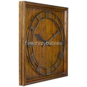 Large 32 Wood Wall Clock Square  Cottage Ranch Lodge
