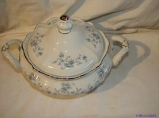 Mint Johann Haviland Bavaria Germany Lidded Serving Bowl Tureen Blue