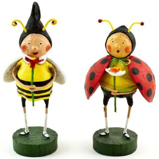 Ladybug Lady Bug Bumble Bee Figurines Spring Summer Figures Set