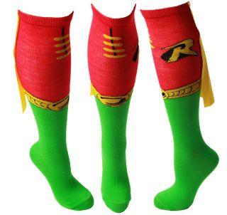 Batman Robin Knee High Derby Socks with Cape