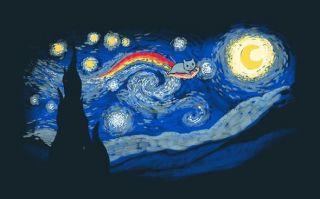 Van Gogh Starry Night with Nyan Cat Mashup Satire PARODY Teefury Women