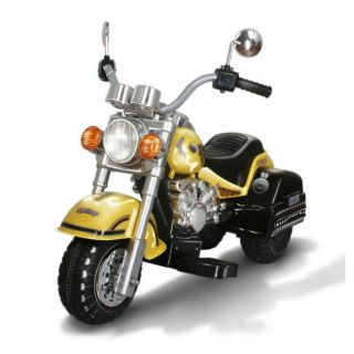 Harley style Yellow Battery Operated Chopper Motorcycle Ride on