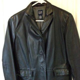 Gap Womens Ladies Juniors Black Genuine Leather Jacket Size Small Fits