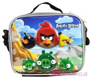 Angry Birds Large 16 Rolling School Backpack & Lunch Bax Bag Red SET
