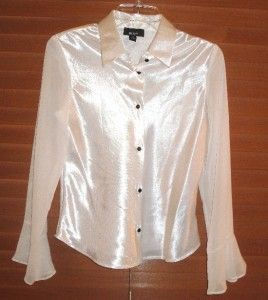BCX Girl XL White Satin w Black Button Conrast Long Sleeved Blouse NNT