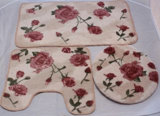 Rose Bath Mat Rug Bathroom Set (Bathroom Rug, Contour & Lid Cover Set