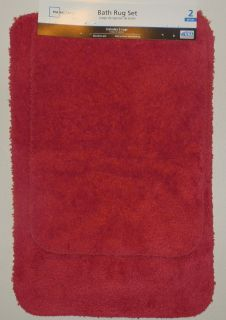 NEW MAINSTAYS BATH RUG SET 2 PIECE RED BATHROOM RUG SET SKID RESISTANT