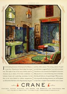 1928 Ad Crane Interior Design Bathroom Home Decoration Fixtures Piping