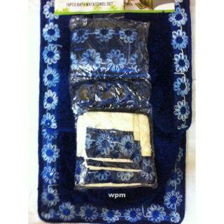 19P Bathroom Rug Set Luxury Blue Flower Bath Shower Curtain Towels Lid
