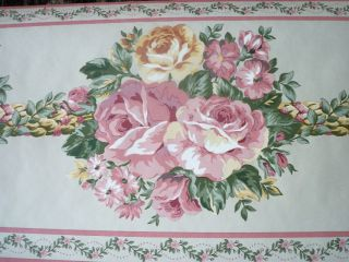 903 Glenna Jean Bathroom Wallpaper Border Flowers Pink Beige Tan Green