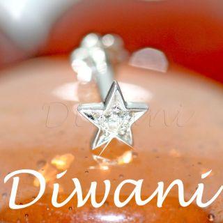 Star Shape Real VVS Diamond Gold Wedding Jewelry Nose Lip Labret Ring