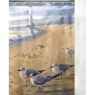 New at The Beach Seagull Print Fabric Shower Curtain